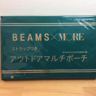 ビームス(BEAMS)のbeams ピンク&グリーンアウトドアマルチポーチストラップ付き(ポーチ)