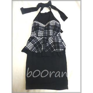 胸元シースルー切替チェック柄ペプラムキャバドレス(ナイトドレス)