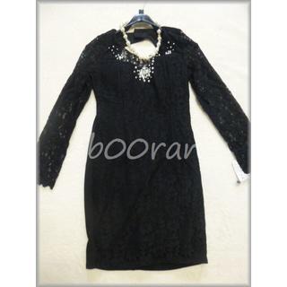ビジュー付袖付総レースキャバドレス(ナイトドレス)