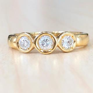 ✨合計0.3ct✨3粒❣️ダイヤモンド ダイヤ K18 18金 リング 指輪(リング(指輪))