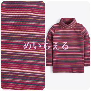 ネクスト(NEXT)の【新品】next パープル ストライプロールネックTシャツ(ヤンガー)(シャツ/カットソー)