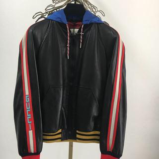 グッチ(Gucci)のGUCCI  ストライプ レザーボンバージャケット 正規品(ブルゾン)