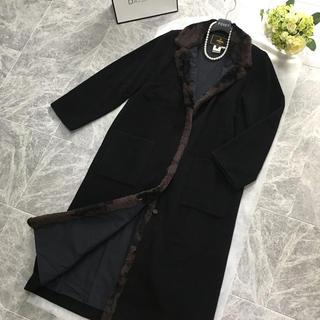 フェンディ(FENDI)の美品 フェンディ  FENDI ファー付 カシミヤ混 ロング コート(毛皮/ファーコート)