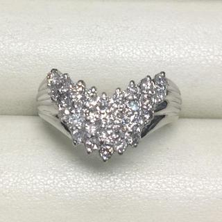 ★サイズ17号★プラチナPt900ダイヤモンド・V字デザインリング★1.00ct(リング(指輪))
