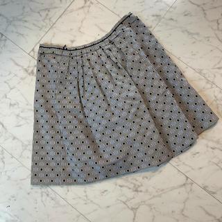 ミュウミュウ(miumiu)のmiumiu(ミュウミュウ)シルク ボーダー×ドット柄 フレアスカート(ひざ丈スカート)