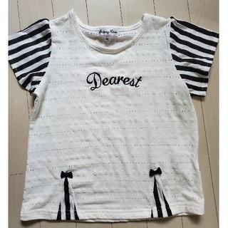 しまむら - キッズ女の子 ボーダー袖Tシャツ