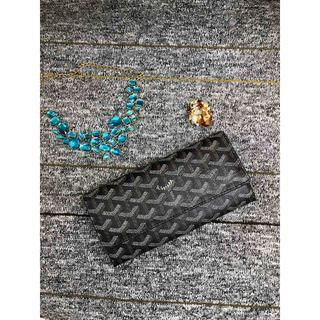 ゴヤール(GOYARD)のゴヤール シグネチャー フラップ長財布 ブラック×タン 小銭入れ付き 男女兼用(財布)
