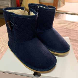 ファミリア(familiar)の【新品】ファミリア ボアショートブーツ ネイビー 20cm(ブーツ)