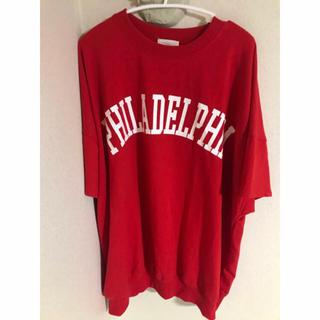 Tシャツ ドルマン ビッグシルエット オーバーサイズ  赤 レッド(Tシャツ/カットソー(半袖/袖なし))