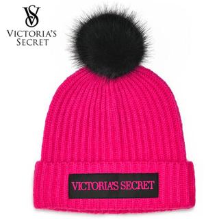 ヴィクトリアズシークレット(Victoria's Secret)のVS♡ニット帽♡フクシア ブラック(ニット帽/ビーニー)