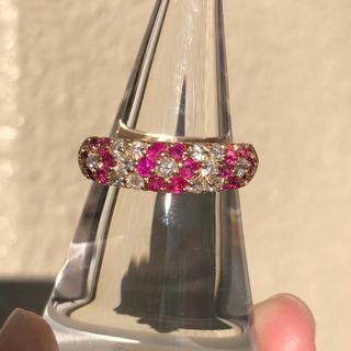 ダイヤモンド ルビー K18 フラワーパヴェリング(リング(指輪))