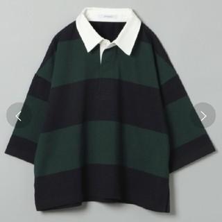 ジーナシス(JEANASIS)のジーナシス 🐼🐾 ラガーTEE  グリーン×ネイビー(Tシャツ(半袖/袖なし))