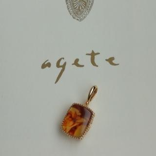 agete - agete アガット ネックレスチャーム アンバー・ラブラドライト