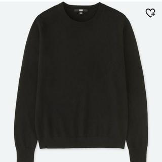 ユニクロ(UNIQLO)のユニクロ カシミヤクルーネックセーター/ブラック/ニット/L(ニット/セーター)