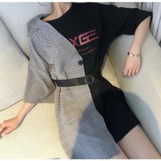 今季のトレンド❤ ドッキングTシャツ アシメ ワンピ ブラック チェック(ミニワンピース)