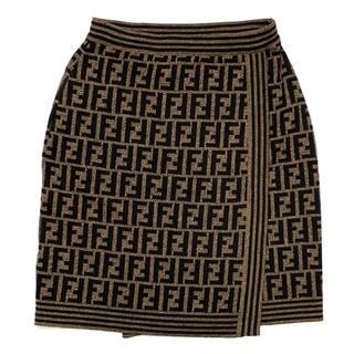 フェンディ(FENDI)のFENDI☆ スカート ズッカ ウール ブラウン ブラック(ひざ丈スカート)