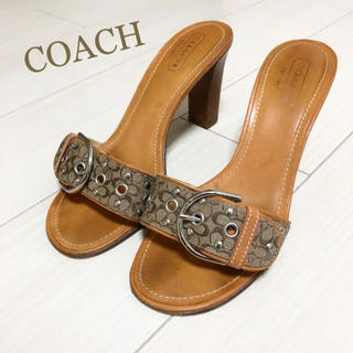 コーチ(COACH)の美品!コーチ 24.0 本革 イタリア製 ブラウン ロゴ サンダル(サンダル)