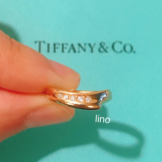 ティファニー(Tiffany & Co.)の美品 ティファニー Tiffany オープンハート リング 指輪 ダイヤ k18(リング(指輪))