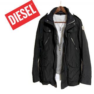 ディーゼル(DIESEL)のDIESEL フェイクレイヤードジャケット 黒 ミリタリージャケット 高級感(ミリタリージャケット)