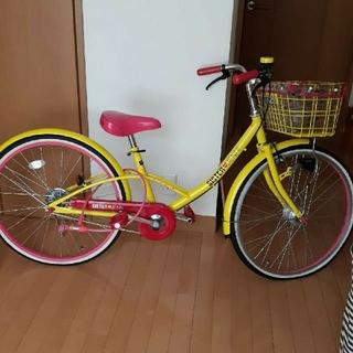 ジェニィJenni黄色×ピンク自転車24インチ