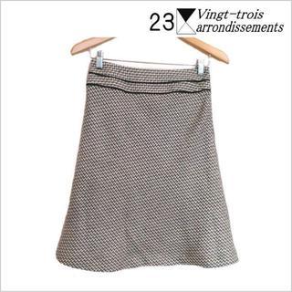 23区 - 23区◎オンワード樫山◎グレー白ウール柔らか織り込みスカート◎36◎日本製