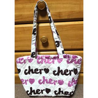 シェル(Cher)の☆cher♡ シェル☆  Bag 鞄 トートバッグ小 白 ロゴ柄(トートバッグ)