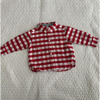 ムジルシリョウヒン(MUJI (無印良品))のMUJI無印良品 ベビーチェックシャツ 赤白 ネルシャツ(シャツ/カットソー)