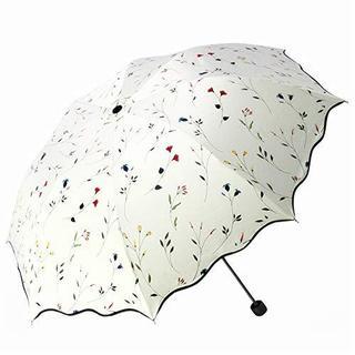 折りたたみ傘 晴雨兼用 花柄 8本骨 折り畳み傘 QIJOVO 強度 海棠の花(日用品/生活雑貨)