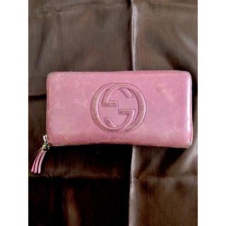グッチ(Gucci)のGUCCI 長財布 革 ピンク SOHO グッチ ソーホー タッセル(財布)