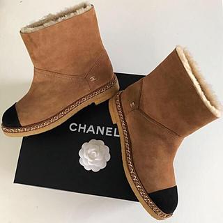 シャネル(CHANEL)の❤️シャネル❤️最終価格💓美品💖チェーン付き💕ムートンブーツ 39(ブーツ)