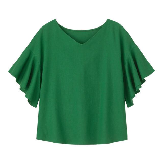 GU(ジーユー)のGU♡リネンブレンドフレアスリーブブラウス レディースのトップス(シャツ/ブラウス(半袖/袖なし))の商品写真