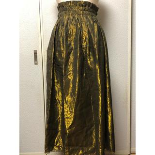 ジャーナルスタンダード(JOURNAL STANDARD)の新品タグ付き★ポルダー ロングスカート ゴールド×黒(ロングスカート)