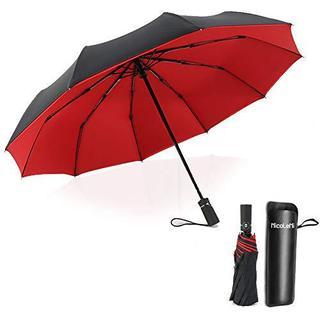 二重構造 晴雨兼用 折りたたみ傘 10骨 折り畳み傘 自動開閉式 レッド ケース(日用品/生活雑貨)