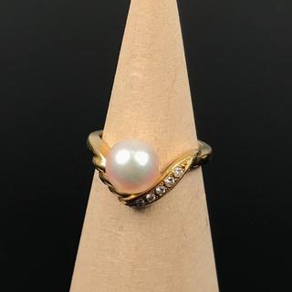 ティファニー(Tiffany & Co.)の美品 MIKIMOTO 大粒 パール 5P ダイヤ V字 リング AN36(リング(指輪))