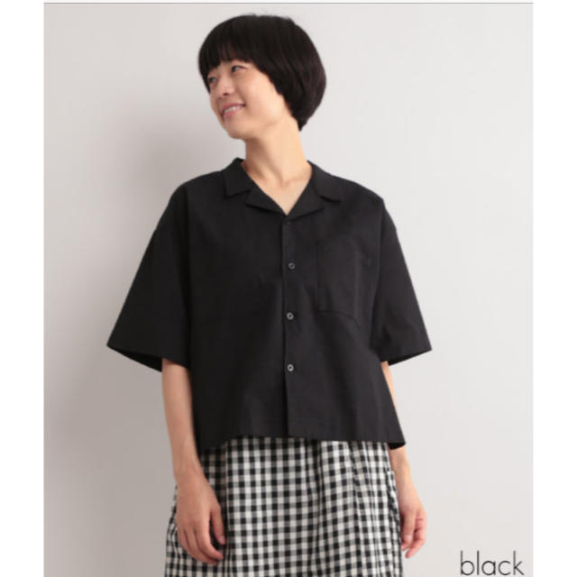 merlot(メルロー)のコットンリネンオープンカラー半袖シャツ レディースのトップス(シャツ/ブラウス(半袖/袖なし))の商品写真