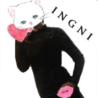 イング(INGNI)の【INGNI】ブラックレース トップス(カットソー(長袖/七分))
