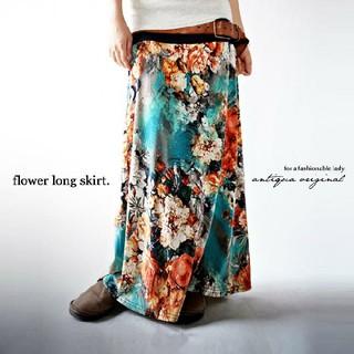アンティカ(antiqua)のショコラ様専用です。antiqua 2way アート花柄ロングスカート(ロングスカート)