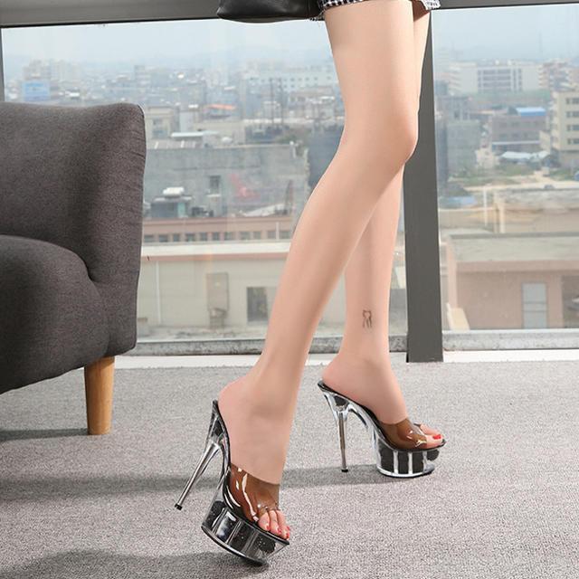 ハイヒール❤️クリアミュール 薔薇 美脚 キャバ  小さいサイズ レディースの靴/シューズ(ハイヒール/パンプス)の商品写真