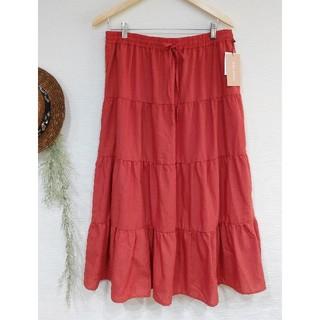 新品 4L ティアード ロングスカート オレンジ スカート マキシスカート(ロングスカート)