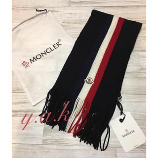 MONCLER - モンクレール メンズマフラー ネイビー 今季新作 保存袋付き