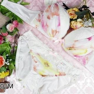 031★C70 M★美胸ブラ ショーツ 谷間メイク マーブル ピンク系(ブラ&ショーツセット)