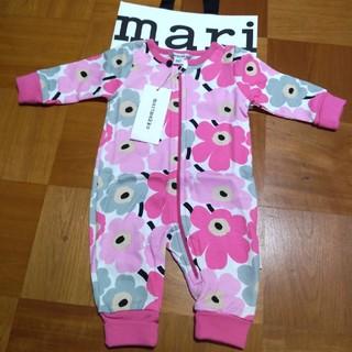 マリメッコ(marimekko)のギフト 新品■マリメッコ ウニッコ カバーオール ロンパース ピンク 3M 62(カバーオール)