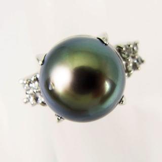 Pt900 南洋黒蝶真珠(ブラックパール)リング 7号 [f66-8](リング(指輪))