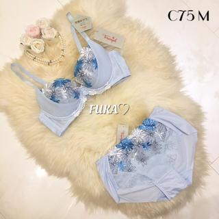 トリンプ(Triumph)のC75♤トリンプ  天使のブラ スリムライン ブラ&ショーツ TR474 ブルー(ブラ&ショーツセット)