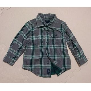 ベビーギャップ(babyGAP)のベビーギャップ チェック柄 長袖 シャツ グレー×グリーン 緑 秋(ブラウス)