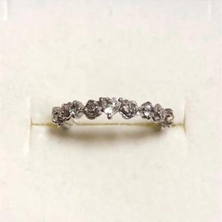 K10 アクアマリン ホワイトトパーズ リング ローズ 薔薇 WG 指輪(リング(指輪))
