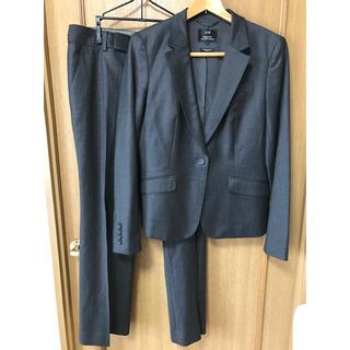 23区 パンツスーツ 42 ピンストライプ スーツ グレー 大きいサイズ