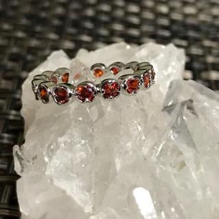 赤ガーネットリング11〜12号☆フルエタニティ☆sv925天然石(リング(指輪))