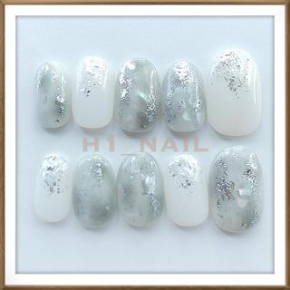 オーダー ネイルチップ シェルネイル 天然石ネイル ニュアンスネイル グレー 白