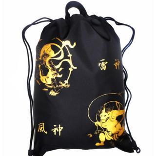 ナップサック 巾着 エコバッグ ランドリーバッグ 日本製 風神雷神図(ブラック)(バッグパック/リュック)